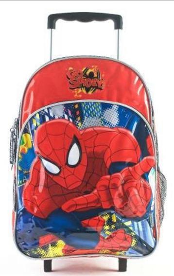 Mochila Escolar Spiderman 16 Pulgadas Con Carro Original!!!