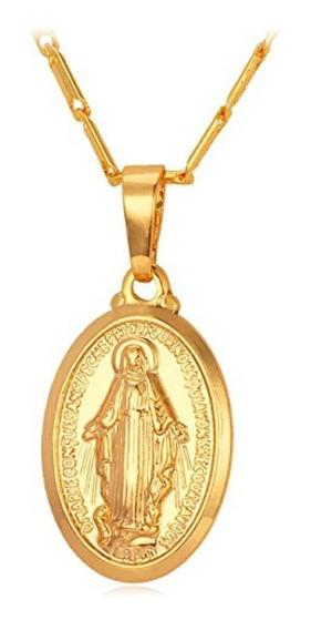 Colar Feminino Folheado Medalha Milagrosa Nossa Sra. Graças
