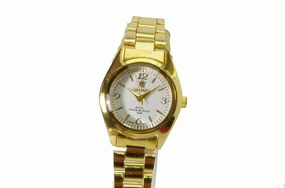 Relógio Feminino Dourado Orimet Pequeno Cor De Fundo Branco.