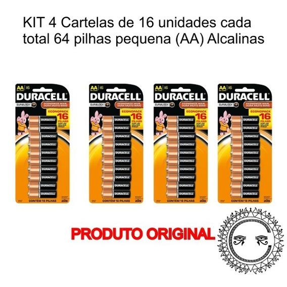 Kit 64 Pilhas Palito(aa) Alcalina Da Marca Duracell
