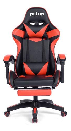 Cadeira Gamer Pctop Racer 1006 Escritório Preta E Vermelha