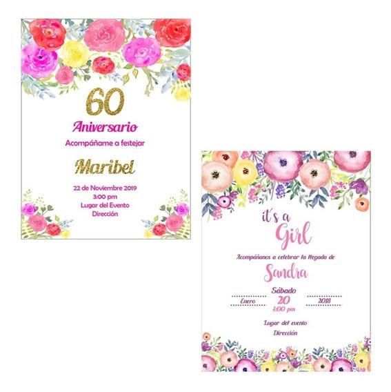 Invitación Digital Flores Colores Boda Xv Baby
