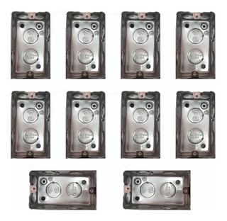 Combo 10 Cajas Luz Rectangular 5x10 Chapa Electricidad Zinc