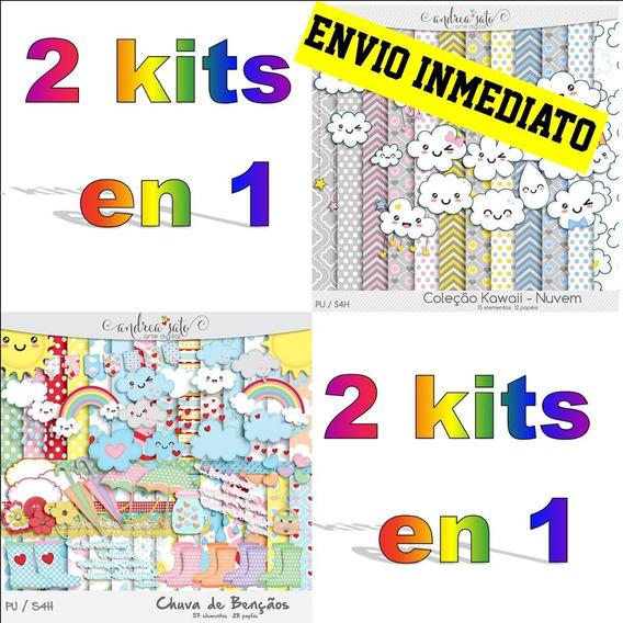 Kit Imprimible Lluvia De Amor Nubecita Png Fondos Combo X2
