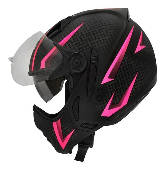 Capacete Moto Peels Mirage Óculos Interno Storm Rosa C/ Nf