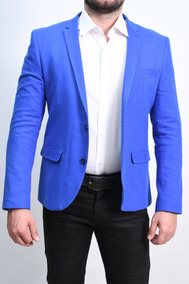 Paletó / Blazer Casual Super Slim Azul Royal 8006 Raffer