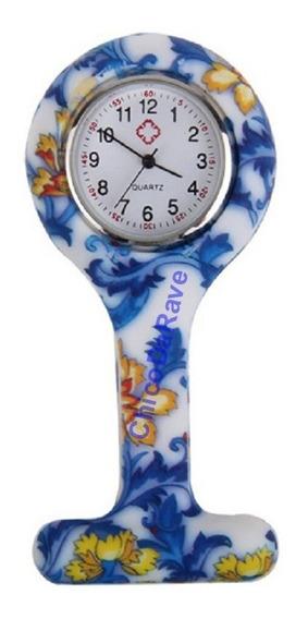 Relógio De Bolso Lapela Jaleco Floral Médico Enfermagem