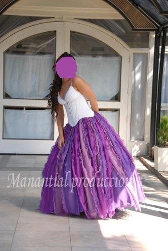 Vestido De Fiesta+15 Años+violeta Corset Regulable C/ Enagua