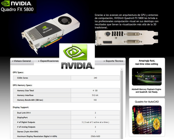 Tarjeta De Video Nvidia Quadro Pny Fx-5800 4gb Ddr3 Pci Exp