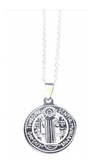 Colar Da Medalha De São Bento - Inox