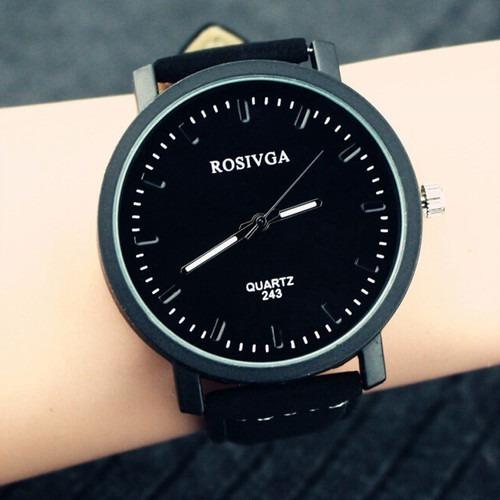 Relógio Quartz Com Mostrador Grande Pulseira De De Couro