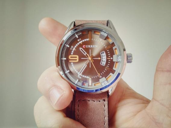 Relógio Masculino Curren Analógico - Pulseira De Couro