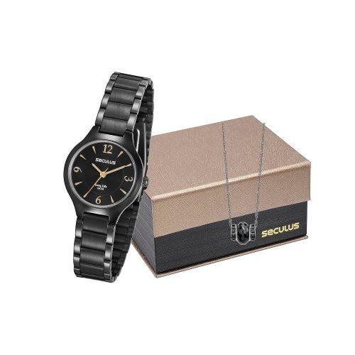 Kit Presente Relógio Seculus Feminino 77017lpsvpa2k1 - Nota Fiscal Garantia De 2 Anos