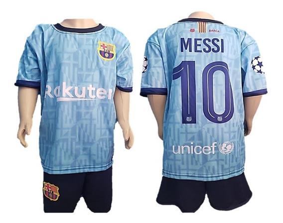 Novo Short E Camisa Infantil Barcelona Messi Azul Futebol