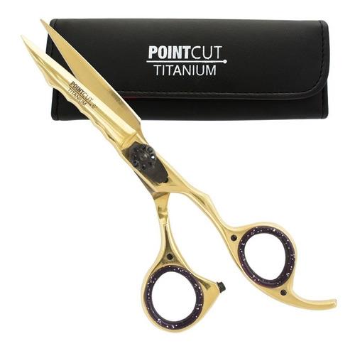 Tijera Peluqueria Microdentada Corte Pointcut Titanio Gold 6