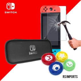 Case Capa Estojo + Película Vidro + 4 Grip Nintendo Switch
