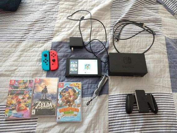 Nintendo Switch Neon + 3 Jogos Mídias Físicas