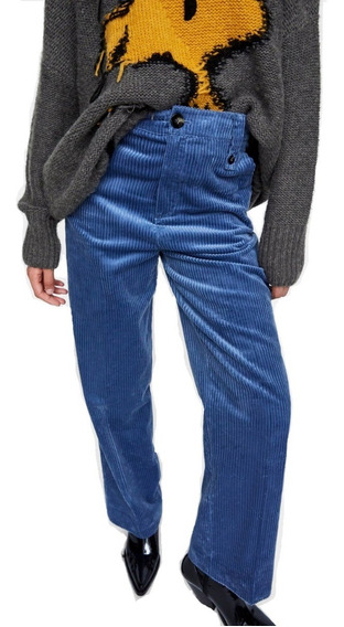 Pantalon Z.a.r.a. Corderoy Recto Azul Aero