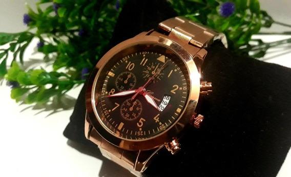 Relógio Feminino De Pulso Cor Rosé Lindo Luxo Promoção