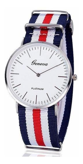 Relógio De Pulso Pulseira Lona Itália 4cm