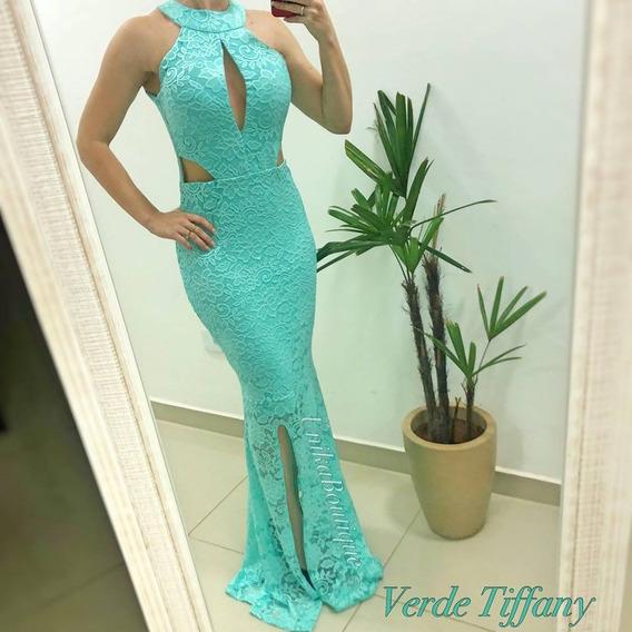 Vestido Festa Tule Decote Formatura Verde Esmeralda Tiffany