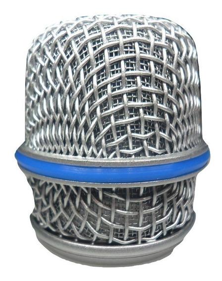 Globo Metalico Microfone Prata Para Btm57 + Nf!