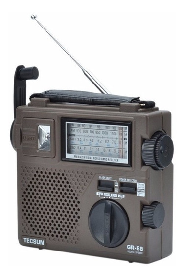 Rádio Tecsun Green 88 Dínamo Com Lanterna