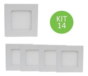 Plafon Led Sobrepor 6w Branco Quente Quadrado Kit 14