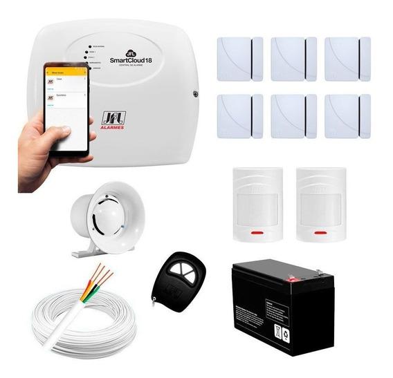 Kit Alarme Residencial Jfl 8 Sensores Sem Fio Smart Via App