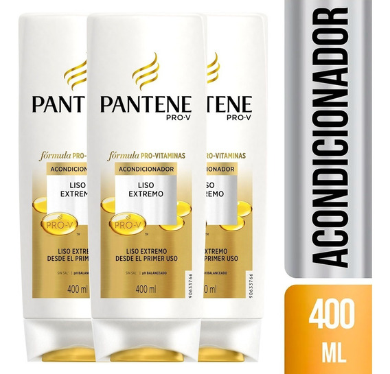 Pack De 3 Acondicionador Pantene Pro-v Liso Extremo 400 Ml