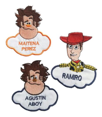 Nombres Bordados, Nubes Escolares - Etiquetas (por 4 Unid.)