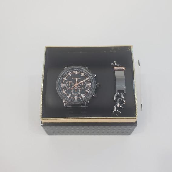Juego De Reloj Y Pulsera Marca Rocawear Original Negro