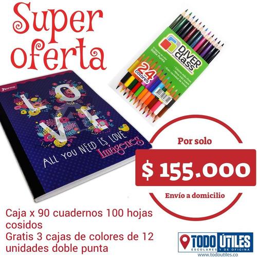 Cuadernos Cosidos 100h Caja X 90 Gratis 3 Cajas De Colores