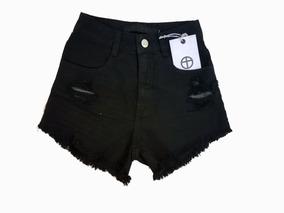 Short Lady Rock Preto Cintura Alta Hot Pants Cos Alto Varejo