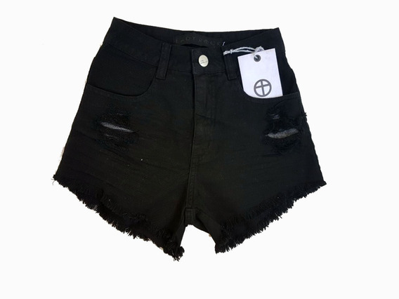 Short Lady Rock Preto Cintura Alta Hot Pants Cos Alto Varejo