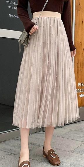 Bonitas Faldas Abajo De La Rodillas Con Perlas