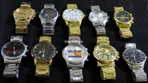 Atacado 5 Relógios Dourado Ouro Prata Aço + Caixas + Brindes