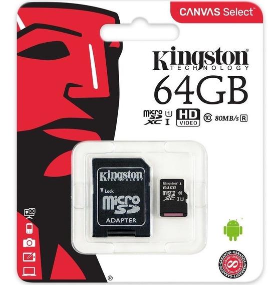 Cartão De Memória Kingston Micro Sd 10 64gb Com Adaptador