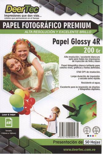 Papel Fotografico 4x6 Postal Glossy 50 Hojas 10x15cm 4r Sgi
