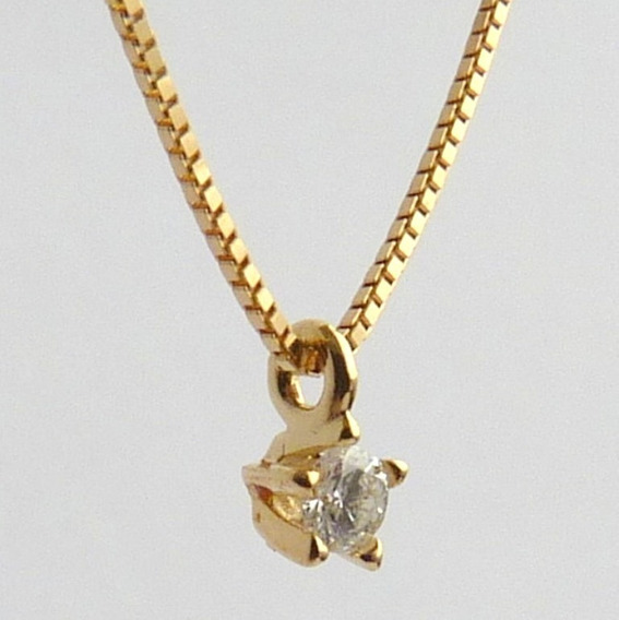 Corrente Com Pingente De Ouro 18k E Diamante Natural 1084