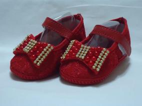Sapatinho Bebê - Renda Vermelho -ref A012
