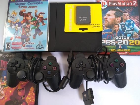 Ps2 + 2 Controle , Jogos , Cabos Memory Card, Garantia!!!