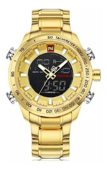 Relógio Militar Naviforce Analógico Digital Aço Inoxidável