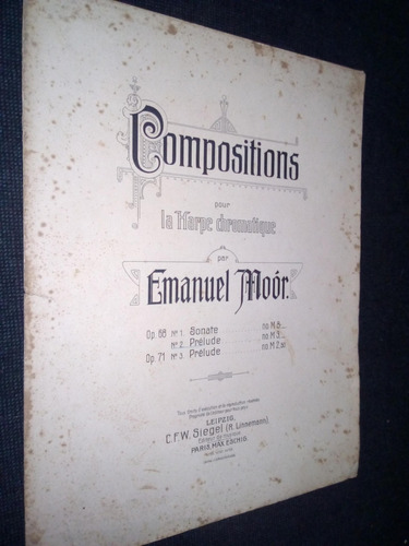 Partitura Compositons Arpa Emanuel Moor Preludes N°3