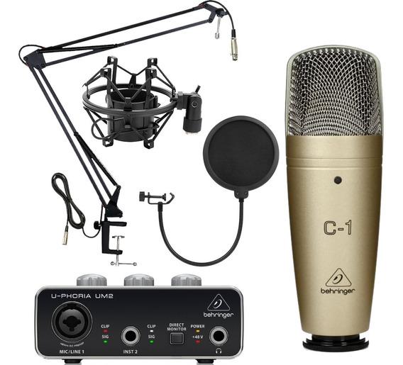 Kit Grabacion Behringer Um2 Microfono Condenser C1 + Acc