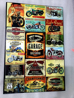 Moto Harley Davidson Bar Cuadro Cartel Vintage 46 X 31 Cm