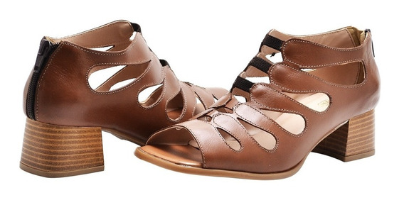 Sandália Feminina Retro Salto Baixo Couro Chocolate Ziper