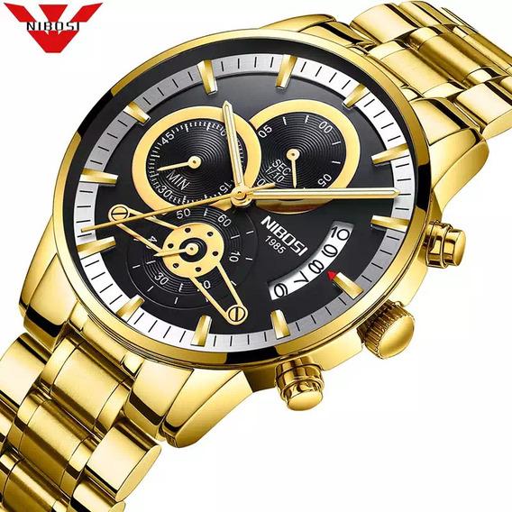 Relógio Masculino Nibosi Luxo Ouro