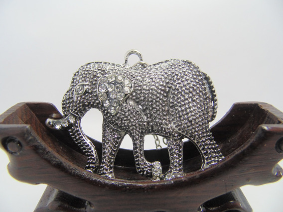 Colar Em Metal Vintage Gargantilha Pingente Elefante Prata