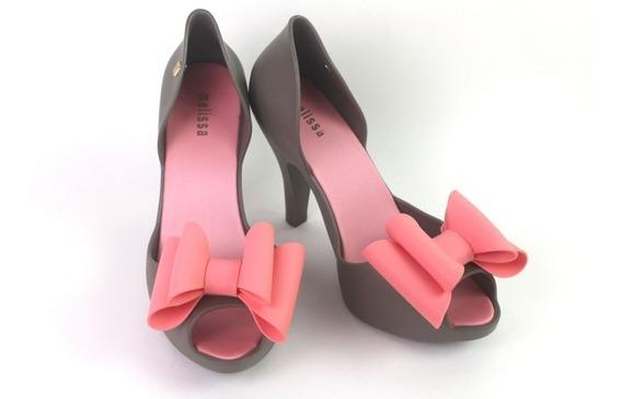 Sapato Melissa Magnolia Salto Laço Rosa Cinza Boneca